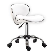 HOMCOM Office Chair Beauty Salon Rolling Technician Stool Chair Low Back White