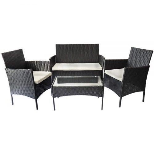 Rattrix 4pc Rattan Sofa, Armchair & Coffee Table Garden Furniture Set