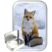 Winter Fox 50ml Silver Hinged Tobacco Tin, Gift Tin