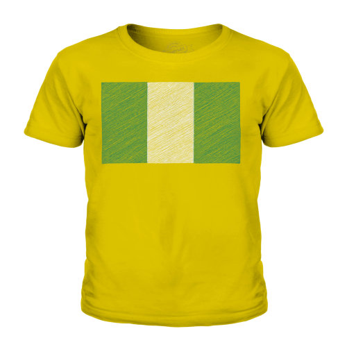(Gold, 9-10 Years) Candymix - Nigeria Scribble Flag - Unisex Kid's T-Shirt