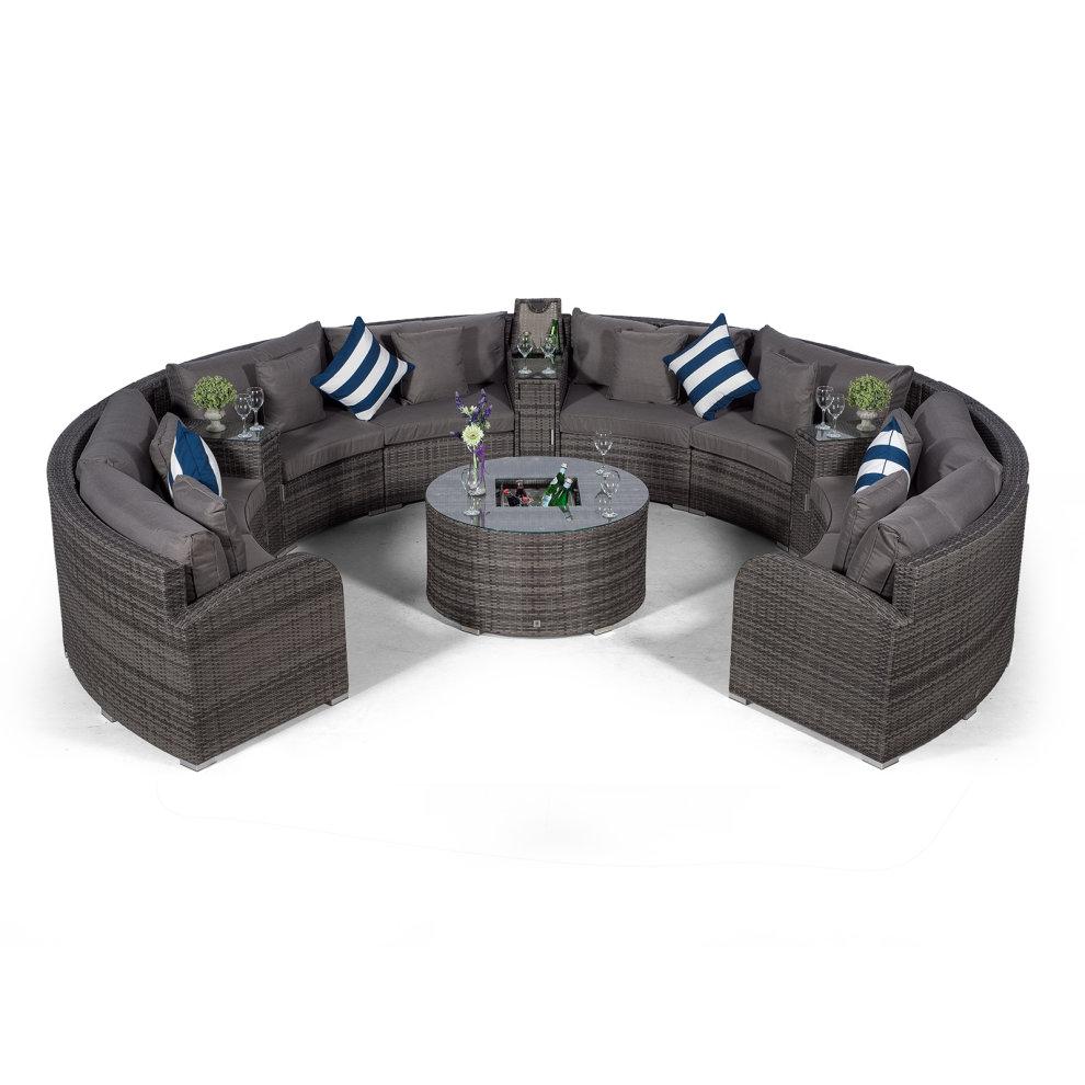 Riviera 8 Seat Semi Circle Rattan Garden Sofa Set with ...