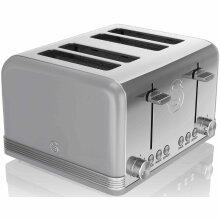 Swan ST19020GRN 4-Slice Retro Toaster, 1600 W, Grey