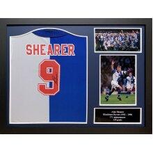 Framed Alan Shearer 1994/95 signed Blackburn Rovers shirt with COA