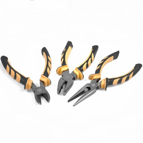 3 Piece Combination Heavy Duty Pliers Set Soft Grip Handle Tools Plier Steel New