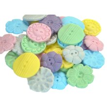 18 Edible Mixed Shaped Coloured Buttons Cupcake Toppers