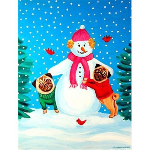 Snowman with Pug Winter Snowman Flag - Garden Size, 11 x 15 in.