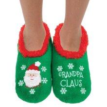 Snoozies! Xmas Family Grandpa Claus Mens Small Size 6-7 Super Soft Non Slip