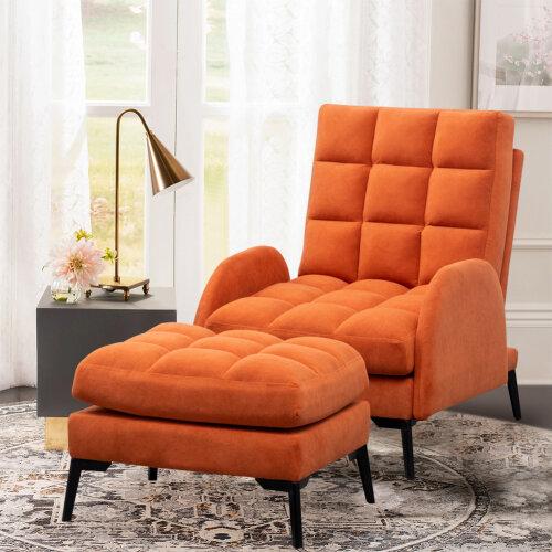 (Orange) Modern Recliner Matte Velvet Armchair Soft Sleeper Sofa Lounge Chair w/ Footrest