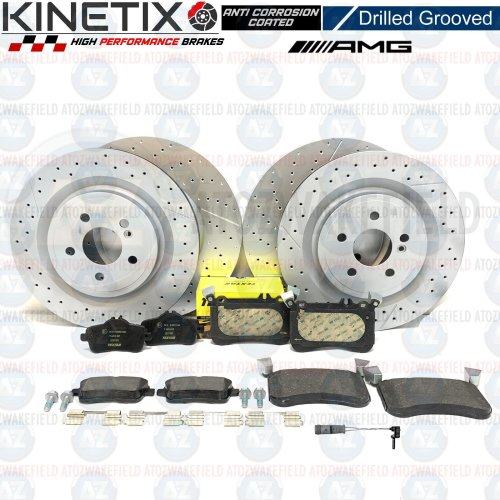 FOR MERCEDES A45 AMG FRONT REAR DRILLED GROOVED BRAKE DISCS TEXTAR PADS SENSOR