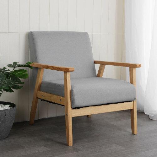 (Light gray) Linen Fabric Accent Armchair Chair Sofa Cafe Seat
