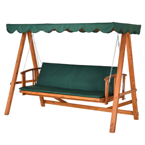 Outsunny Deluxe 3 Seater Wooden Garden Swing