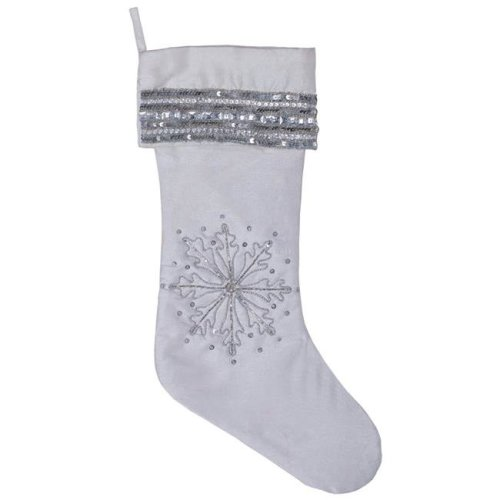 Vickerman QTX17012 8 in. x 19 in. White Banded Snowflake Stocking