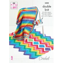 King Cole Crochet Pattern 5502 Rainbow Baby Blankets and Toy in Big Value DK