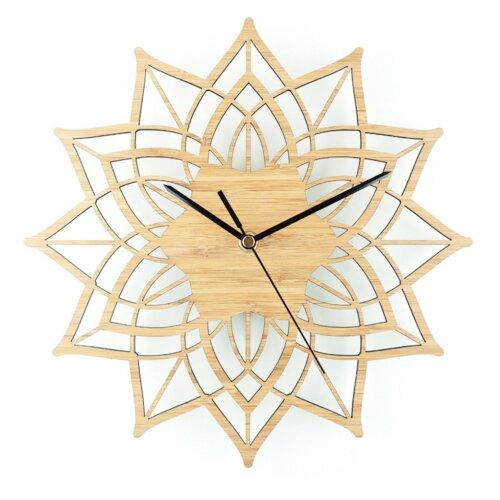 Lotus Bamboo Flower Wall Clock  Wood Wall Hanging Table Quartz Clock