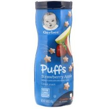 Gerber, Puffs Cereal Snack, Crawler, 8+ Months, Strawberry Apple, 42 g