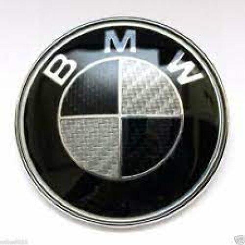 Black Boot+Bonnet Carbon Effect Badge Set 74MM 82MM For BMW