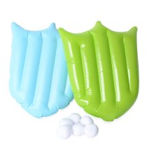 Set of 2 Green and Blue Colour Shield and White Colour 6 Snow Balls Size 45x30cm