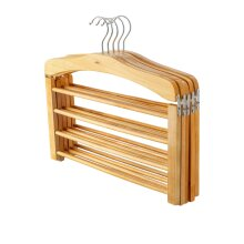 5 Wooden Trouser Hangers Multi Hanger 4 Trousers Space Saving Clothes Wood