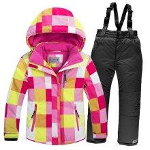 Windproof Warm Fleece Snow Jacket and Pants Set For Kids