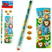 5 Piece Wild Animal Stationery Set - Pencil, 3 Erasers and Stickers