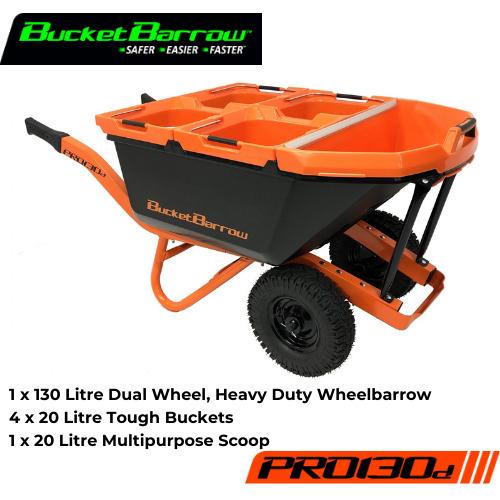 PRO130D Kit ( 1 Wheelbarrow 130L with dual wheel + 4 Buckets 20L + 1 Scoop 20L) - BucketBarrow