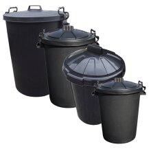 Outdoor Plastic Waste Trash Can Rubbish Bin Black