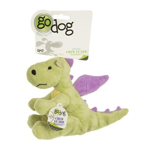 goDog Dragon With Chew Guard Technology Tough Plush Dog Toy, Lime, Small