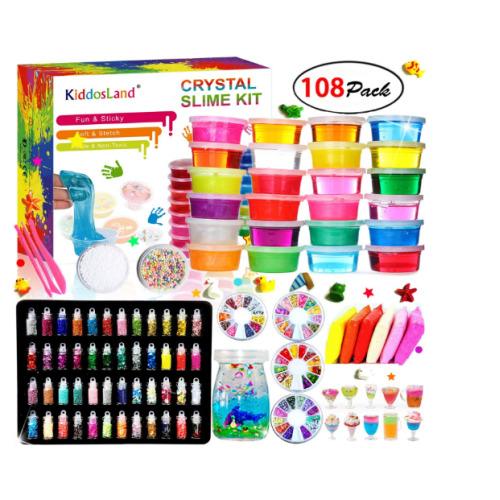 24 colors DIY Fluffy Slime Kit Crystal Slime Set Boys Toys Kids Art Craft Kit