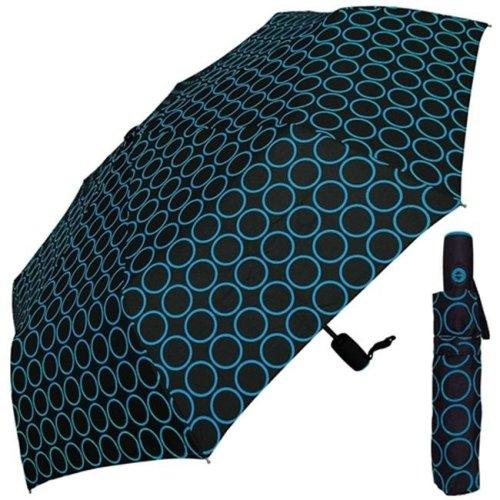 RainStoppers W072ROYAL 42 in. Auto Open Neon Blue Circle Print Super Mini Umbrella, 6 Piece