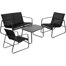 idooka Black Furniture Lounge Set for Patio, Garden and Conservatory - Two Chairs, Large Coffee Table and Comfortable Sofa-Modern Design Weatherproof