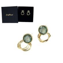 Craftuneed handmade women retro simplicity crystal circle earrings 925 silver pin