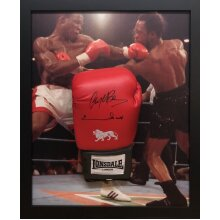 Framed  Benn/Eubank dual signed Lonsdale Boxing glove with COA & proof