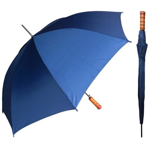 RainStoppers W007N 48 in. Auto Open Navy Sport Umbrella with Wood Handle, 12 Piece