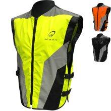 Black Hi-Vis Motorcycle Vest Reflective Motorbike Waistcoat Jacket