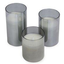 LED Candles - Set of 3 Grey    M&W