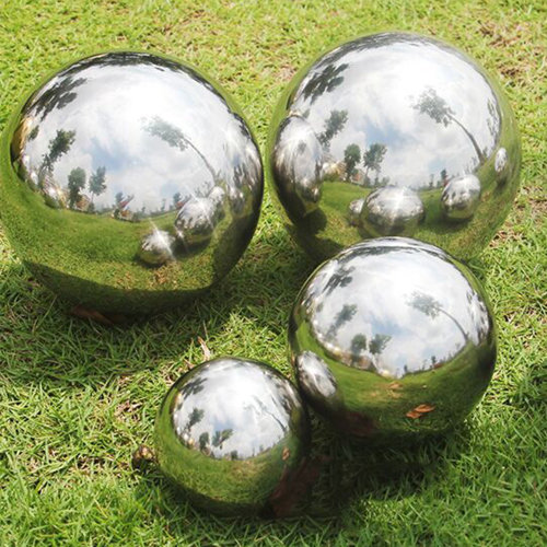 4pc Stainless Steel Mirrored Gazing Balls   Garden Ornaments