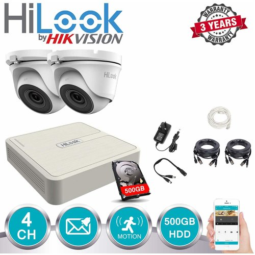 HILOOK CCTV 4CH DVR 500GB HDD 2X DOME OUTDOOR CAMERA KIT