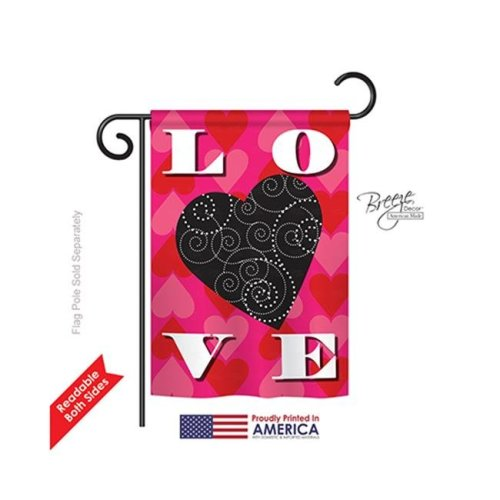 Breeze Decor 51050 Valentines Love Heart 2-Sided Impression Garden Flag - 13 x 18.5 in.