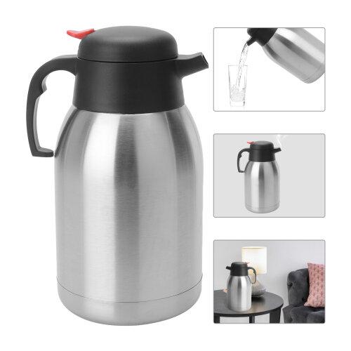 2L S/Steel Vacuum Jug Kettle Flask Dispenser Hot Cold Tea Coffee  Pot