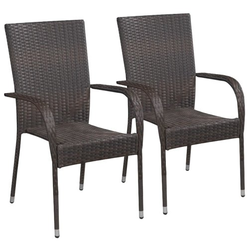 vidaXL 2x Outdoor Stacking Dining Chairs Poly Rattan Brown Home Kitchen Seats
