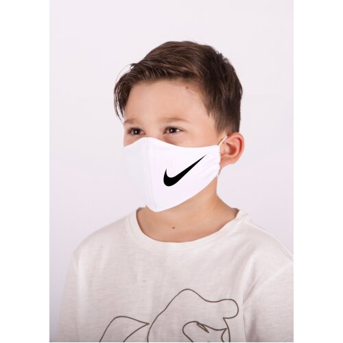 (White, Gold) Nike Logo Kids Facemask, washable, 100%cotton