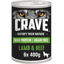 6 x 400g Crave Natural Grain Free Adult Dog Food Tin Lamb & Beef in Loaf