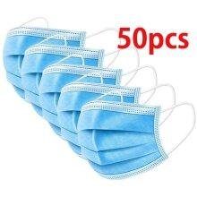50pcs Face Mask 3Ply Dental Elastic Ear Disposable Nose Masks Guard