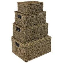 JVL Natural Seagrass Oblong Storage Baskets Boxes Hampers with Lids, Set of 4