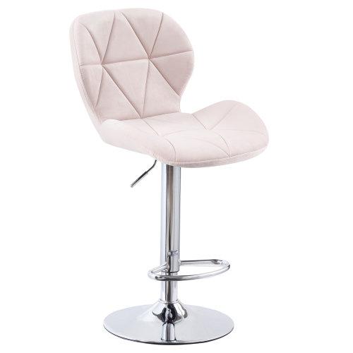 (Velvet Pink) Charles Jacobs Diamond Style Adjustable Breakfast Bar Stool with Footrest
