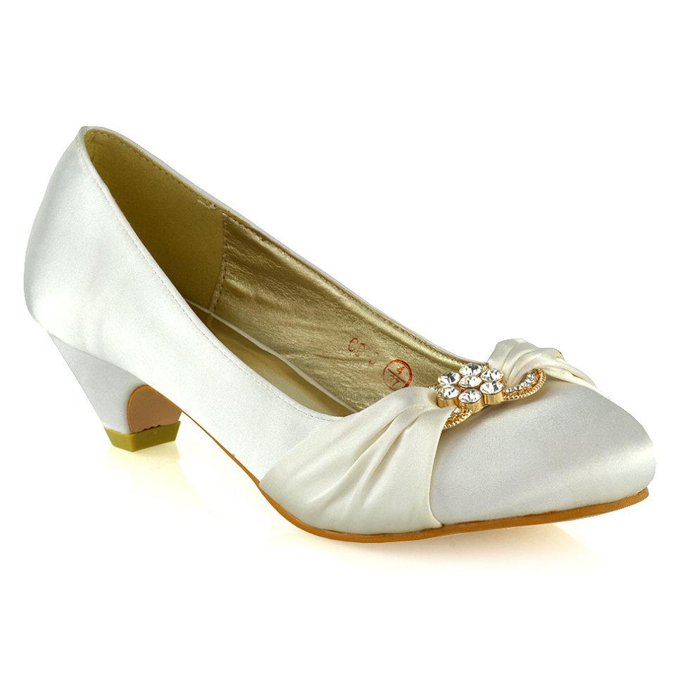 Womens Bridal Shoes Low Heel Satin