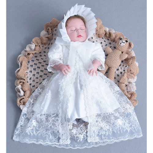 Cinda Baby Girls Ivory Lace Christening Party Dress with Bonnet