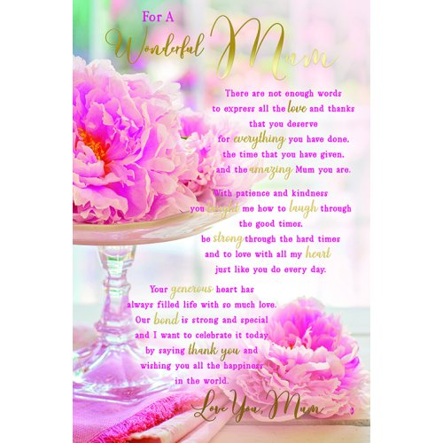 For A Wonderful Mum Sentiments Flowers & Stand Happy Birthday Card Lovely Verse