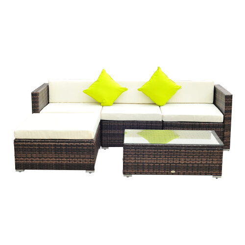 5pc Outsunny Rattan Garden Sofa Set With Coffee Table - Brown