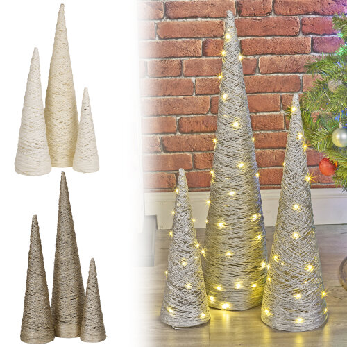 (Gold with Glitter, 40cm) Christmas Tree Cones | LED Light Up Decoration